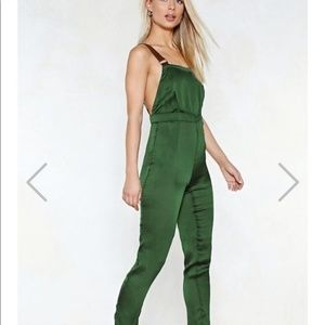 That's Just Shine Satin Overalls